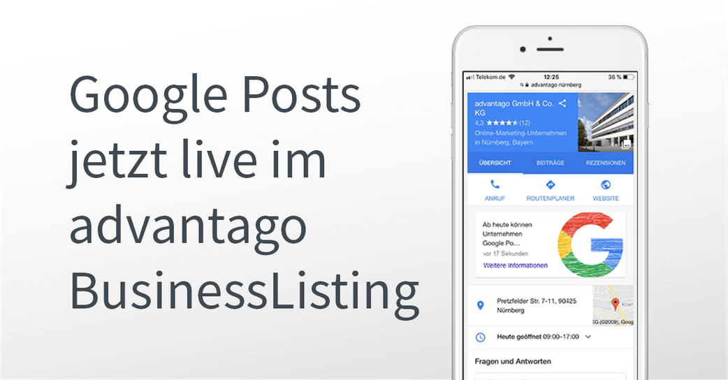 Google Posts im advantago BusinessListing